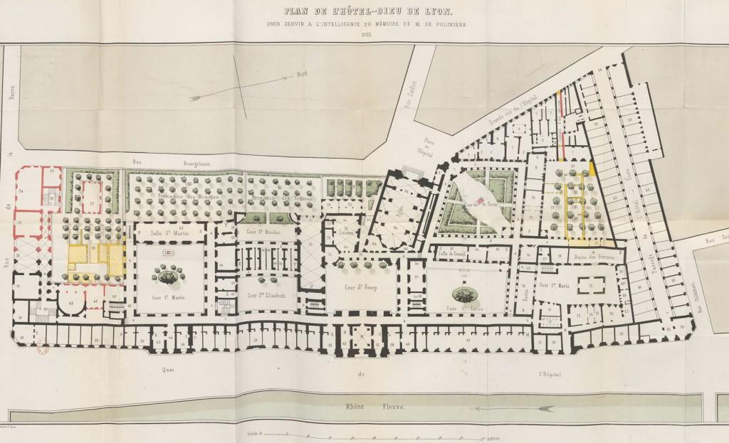 Plan de l'Hôtel Dieu de Lyon 1853